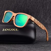JANGOUL Summer Wood Sunglasses Men Women Green Mirror Bamboo Wooden Sun Protection Glasses Natural Retro Handmade Eyewear 02
