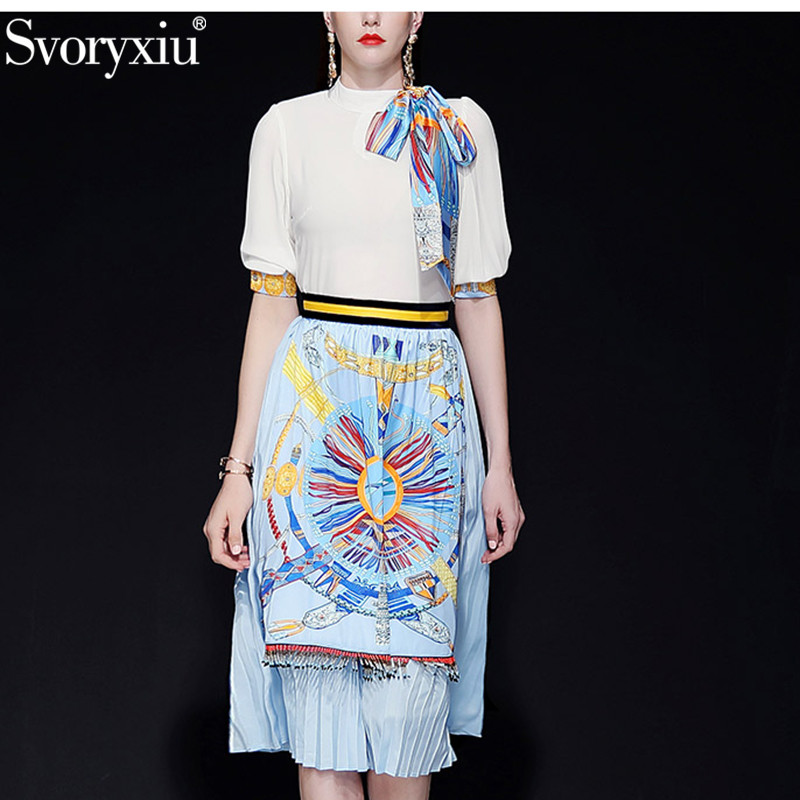 Svoryxiu Spring Summer Runway Skirt Suit Women s Elegant Scarf White Blouse Pleated Beading Tassel Skirts