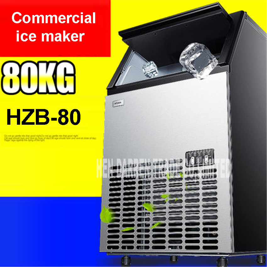 80kgs/24H Automatic Ice Maker, Ice Cube Family Machine Stainless Steel Material For Commercial Use For Coffee Shop Bar HZB-80