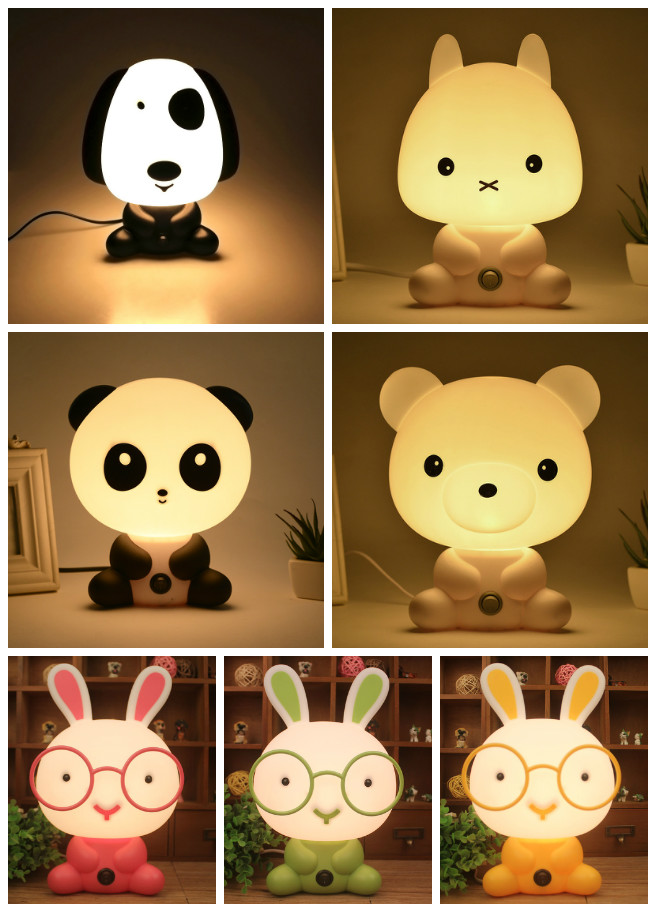 Night Lovely Sleeping Lamp Baby Room Panda/Rabbit/Dog/Bear Cartoon Light Kids Bed Lamp for Gifts EU/US Plug ALI88 lovely stitch night light cartoon