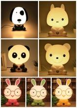 Noite Linda Dormindo Lâmpada Do Quarto Do Bebê Panda/Coelho/Cão/Urso Dos Desenhos Animados Crianças Luz Cama Lâmpada para Presentes UE/EUA Plug ALI88