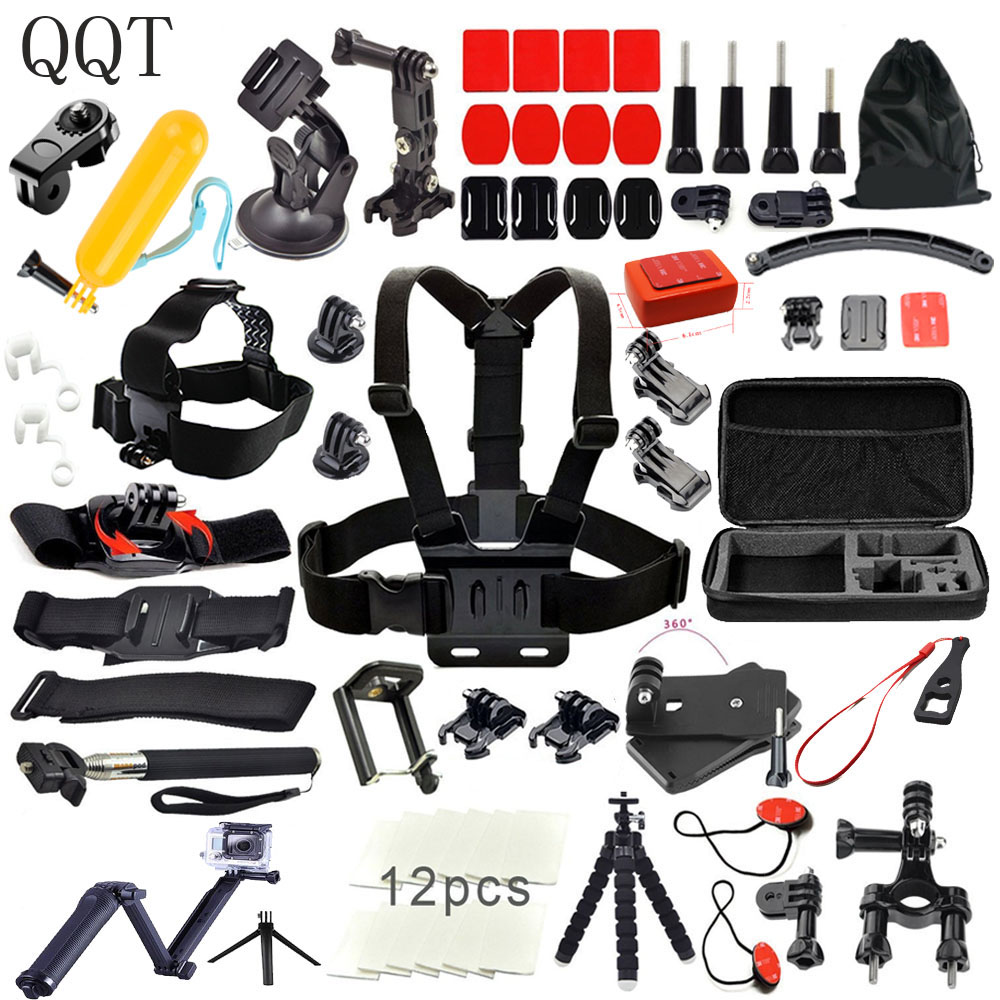 цены QQT for Gopro Accessories for go pro hero 6 5 4 3 mounting kit for SJCAM SJ4000 xiaomi yi 4 k for eken h9 tripod Sports camera