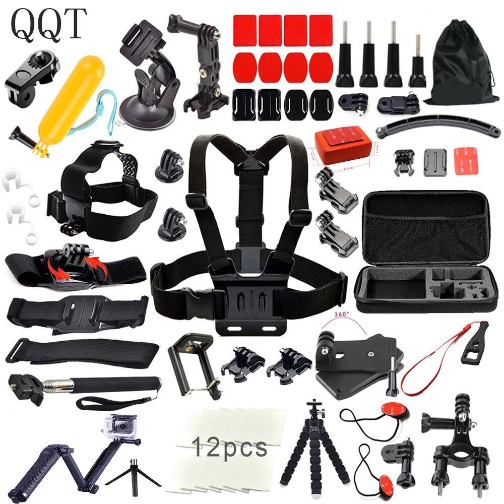 QQT pour Gopro Accessoires pour go pro hero 6 5 4 3 de montage kit pour SJCAM SJ4000 xiaomi yi 4 k pour eken h9 trépied Sport caméra