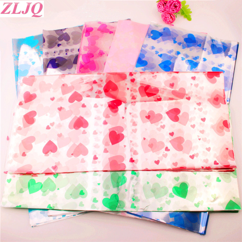 Zljq 70pc Lucky Paper Clear Cellophane Roll Flower Packaging Floral Wrapping Paper Christmas Gift Candy Cake Cookie Bags Craft