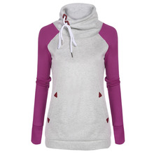 Casual Women Cowl Collar Pullover Patchwork Fleece Hoodie Sweatshirt With Pockets