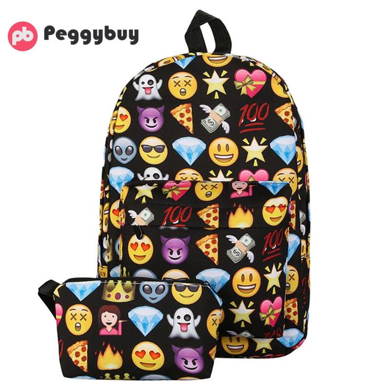 2Pcs Emoji Backpack 3D Cute Smile Printing Backpack Waterproof Nylon Backpacks For Teenage Girls Women's Bags Mochila Feminina