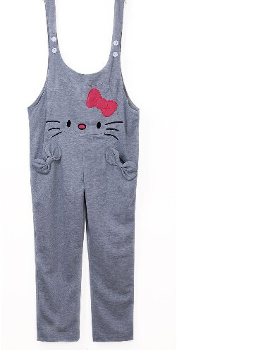 5 pieces grey Winter Plus SIze Maternity Clothing Pants Jumpsuits Rompers For Pregnant Women Kitty cat with bow Maternity Wear