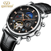 Relogio Masculino KINYUED Moon Phase Top Brand Mens Mechanical Watches Automatic Tourbillon Skeleton Watch Men Calendar