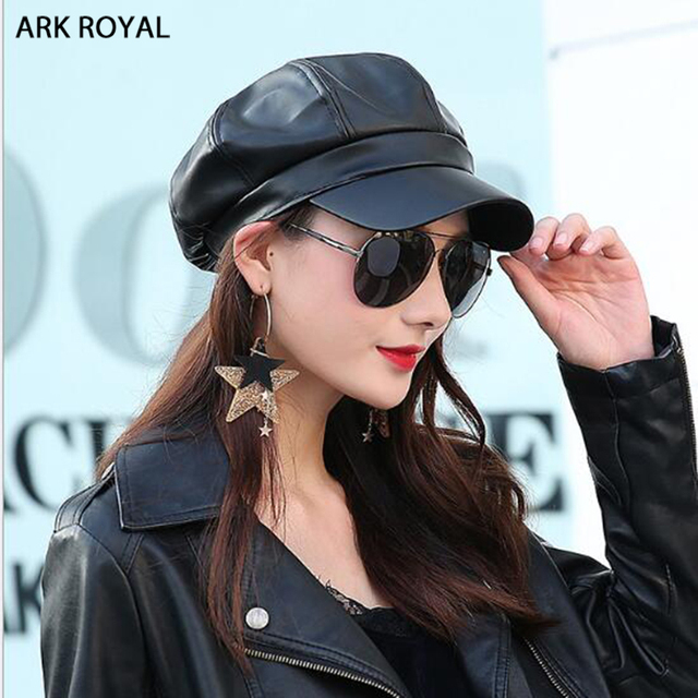 Fashion Octagonal Black Newsboy Cap Vintage Women Faux Leather Beret Casual Newsboy  Hats Cabbie Cap For Women Flat Hat 659ddb44d7a
