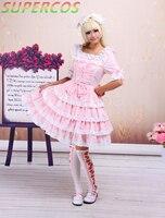 Darmowa dostawa! nowe Przyloty! wysoka jakość! bawełna Różowy Koronki Przodu Więzi Odpinany Rękawy Słodki Lolita Dress