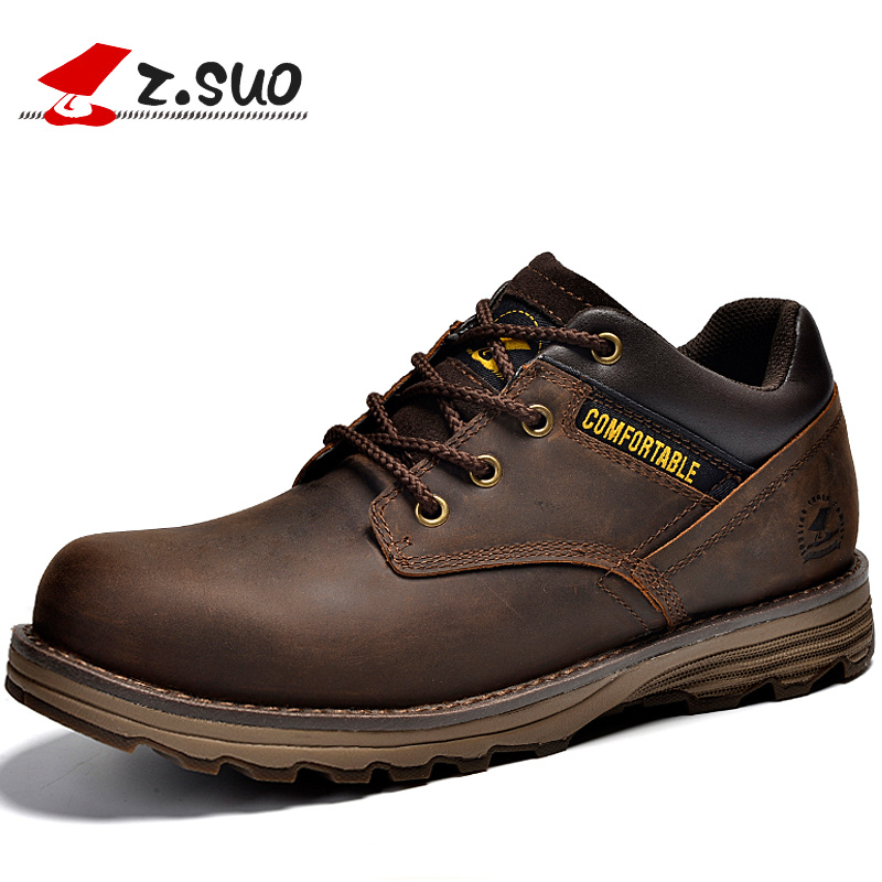 Z.Suo Fashion Spring/Autumn men shoes Genuine Leather Lace-Up Breathable/Comfortable British Style Men's Casual Martin shoes the spring and summer men casual shoes men leather lace shoes soled breathable sneaker lightweight british black shoes men