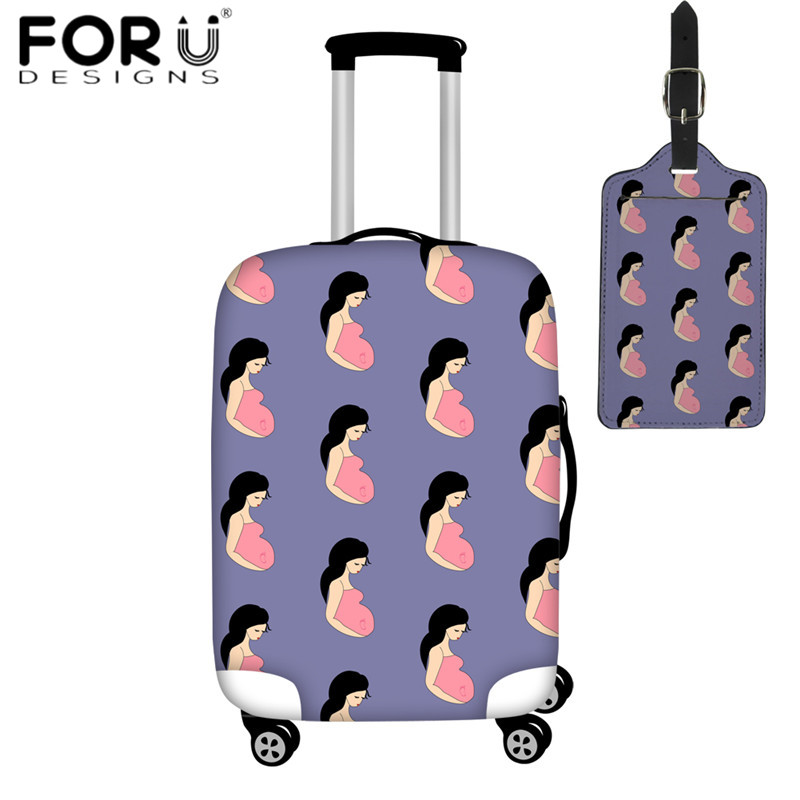 FORUDESIGNS 2pcs/set Travel Accessories Luggage Cover & Luggage Tag Pregnancy Motherhood Pregnant Woman Travel Suitcase Covers