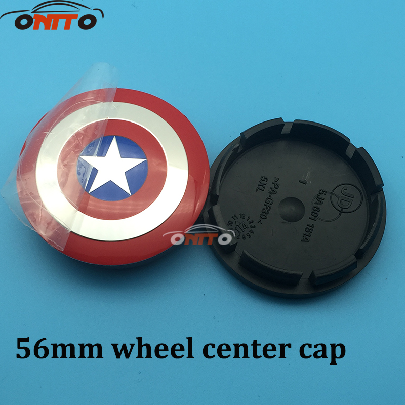 Hot selling 4pcs/lot 56mm ABS base Car emblem wheel center hub caps for Captain America logo Car Accessories for VW SKOD