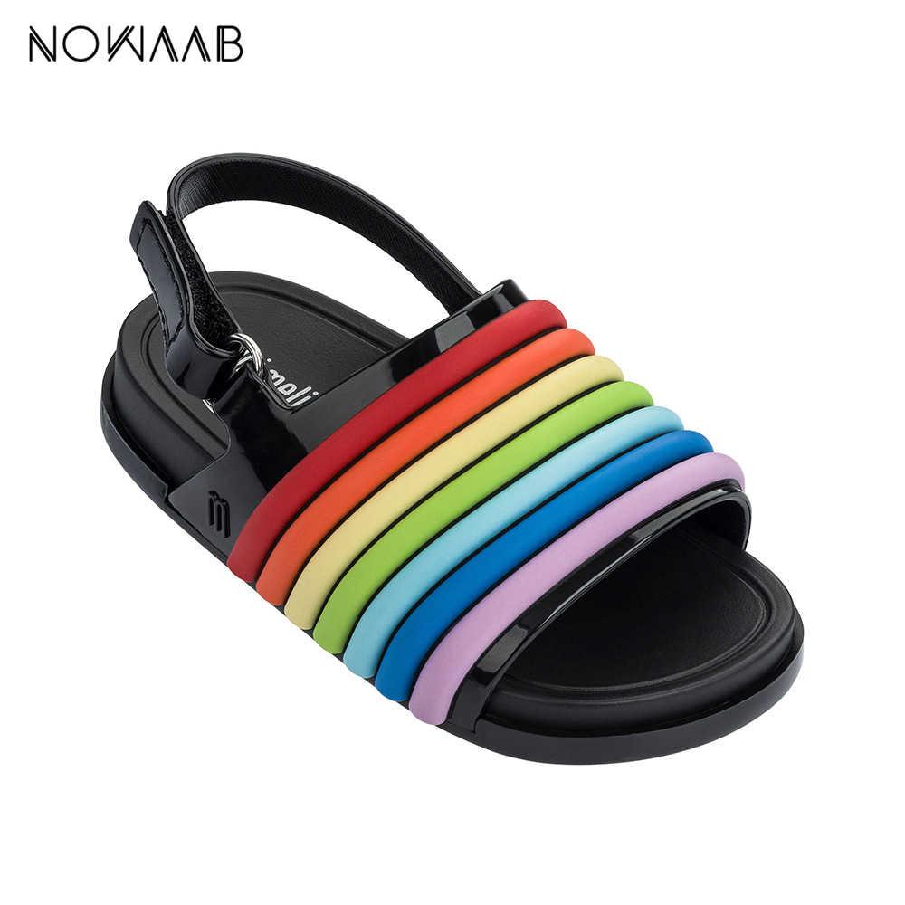 Mini Melissa Plaj slide sandalet Gökkuşağı Kız Sandalet 2019 Jöle Sandalet çocuk sandaletleri Çocuk plaj ayakkabısı kaymaz bebek ayakkabısı