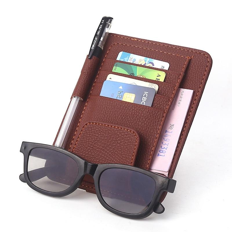 Car sun visor Card holder Sunglasses clip folder Genuine Leather car use 2 functions Glasses folder Card package Card Pack bag