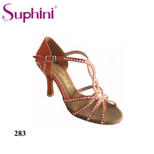 Free Shipping Suphini Brand Blue Satin Latin dancing shoes Womens Rhinestone Salsa Party Dance Shoes