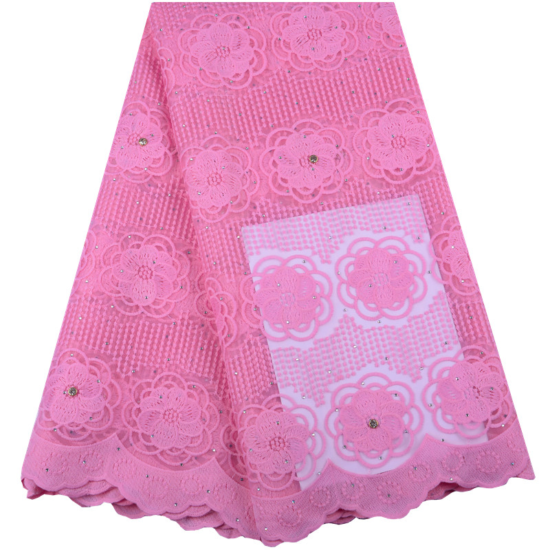 2019 Latest Pink Nigerian Laces Fabrics High Quality African Laces Fabric For Wedding Dress French Tulle Lace With Beads Y1420