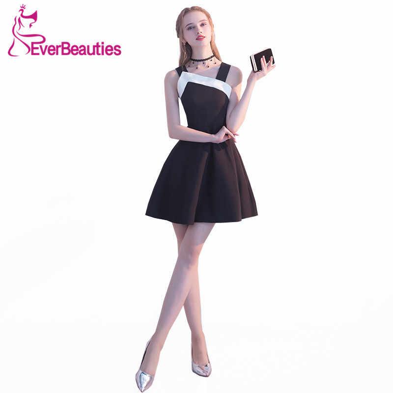 3f1da79d626 Короткие Вечерние платья 2018 черный платье для выпускного вечера avondjurk  спагетти Бретели для нижнего белья халат
