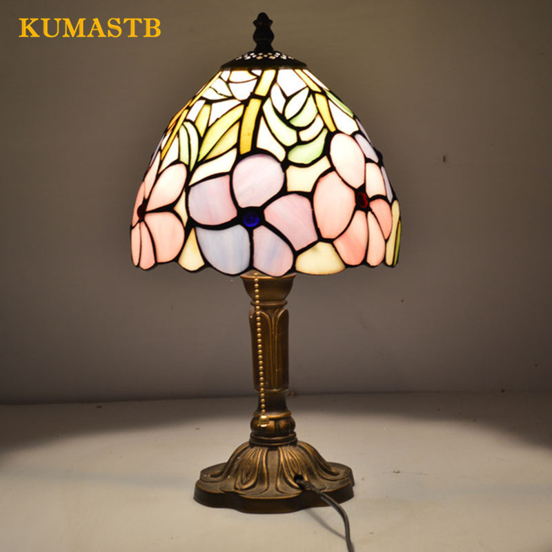 8 Inch Flesh Country Flowers Tiffany Table Lamp European Style Stained Glass Desk Lamp for Bedroom E27 110-240V