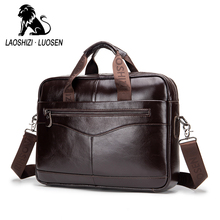 fashion Genuine leather mens Briefcase vintage cow leather business computer bag messenger bags man shoulder bag postman male