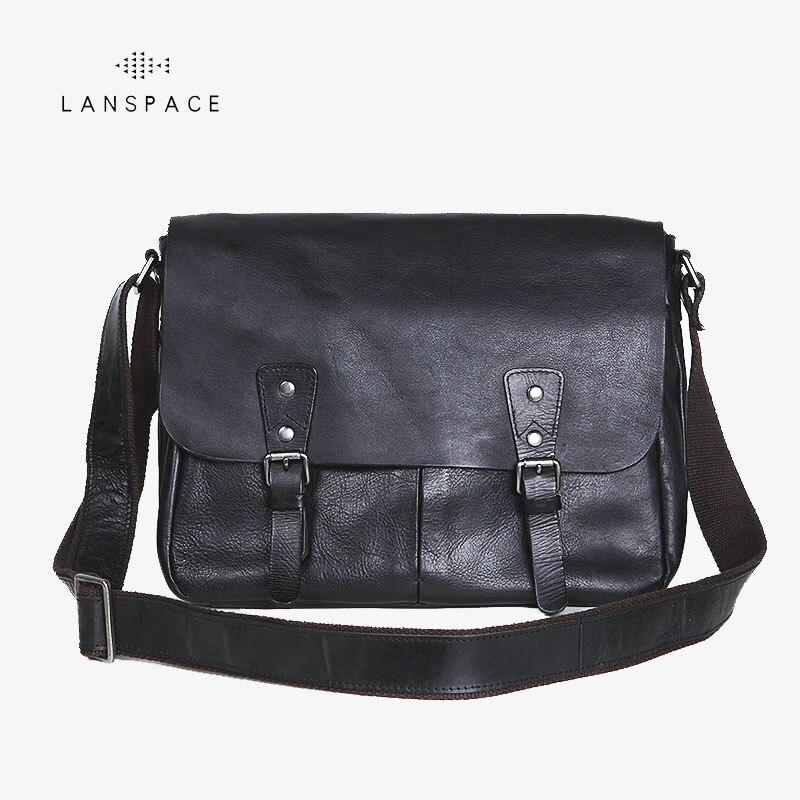 Bagaj ve Çantalar'ten Çapraz Çantalar'de LANSPACE erkek deri askılı çanta çapraz vücut çanta yeni tasarım omuz çantaları Deri çanta Eğlence çanta'da  Grup 1