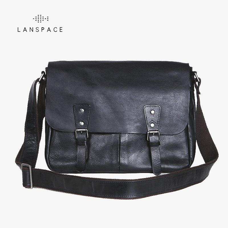 LANSPACE font b men s b font leather messenger font b bag b font font b
