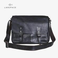 LANSPACE mens leather messenger bag cross body new design shoulder bags Leather Leisure handbag