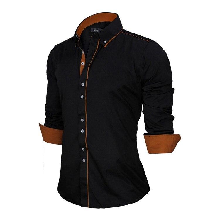 VISADA JAUNA Men Shirts Europe Size New Arrivals Slim Fit Male Shirt Solid Long Sleeve British Style Cotton Men's Shirt