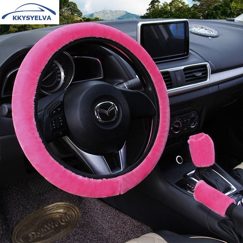 KKYSYELVA PLUSH Car steering wheel cover Handbrake Gear Shift Cover Winter Black Auto Interior Accessories Steering-wheel Covers vintage leather steering wheel cover flower printing women s car steering wheel covers for girls car steering accessories