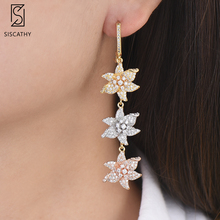 Siscathy Trendy Long Women Drop Dangle Earrings Fashion Flower Shape Cubic Zirconia Jewelry African Wedding For Girls