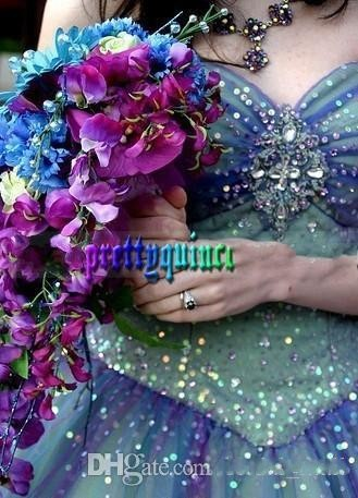 de510df8e2 2015 Dreamlike Prom Dress Ball Gown Beadwork Corset Prom Dresses Colorful  Crystal Evening Dresses Rainbow Wedding Dresses-in Quinceanera Dresses from  ...