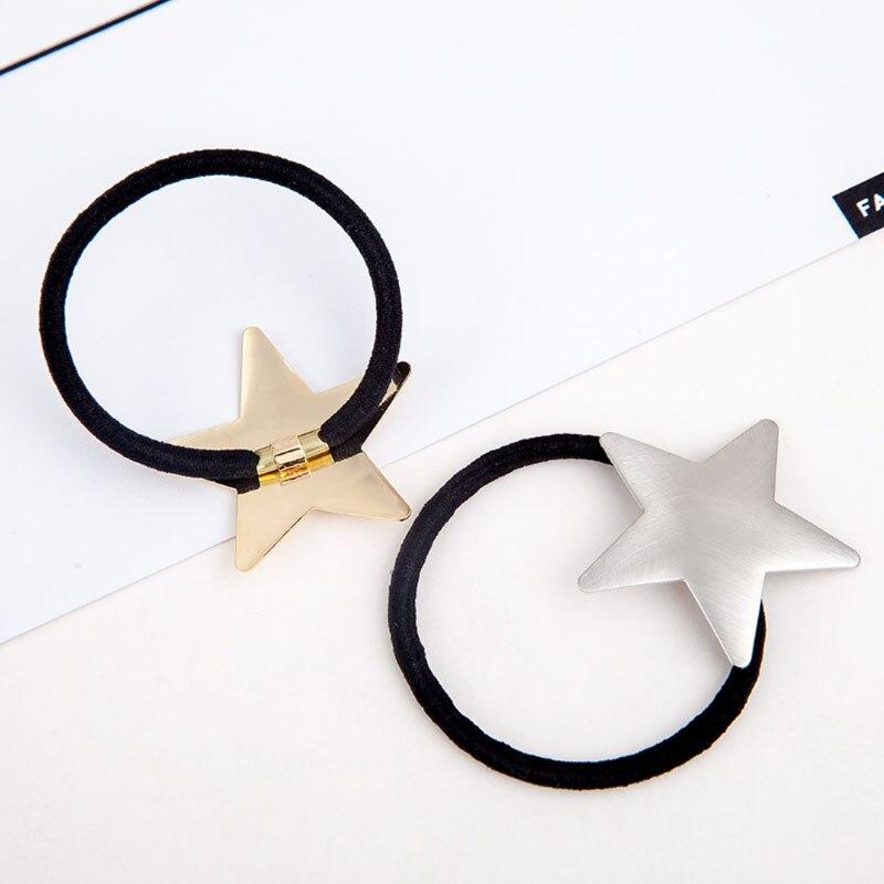 Купить с кэшбэком 1PC Fashion Golden Silvery Star Drawbench Elastic Hair Bands  Pentagram Plane Scrub Women Girls Hair Rope Accessories