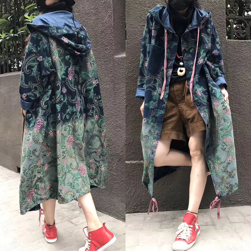 2019 New Harajuku Denim   Trench   Coat For Women Oversizes Jeans Outerwear Long Sleeve Single-breasted Retro Print Streetwear f924