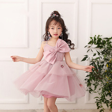 Girls 'Princess dress Autumn New Catwalk Gauze Dress Flower Boy Presided Over The Gown Piano Performance недорого