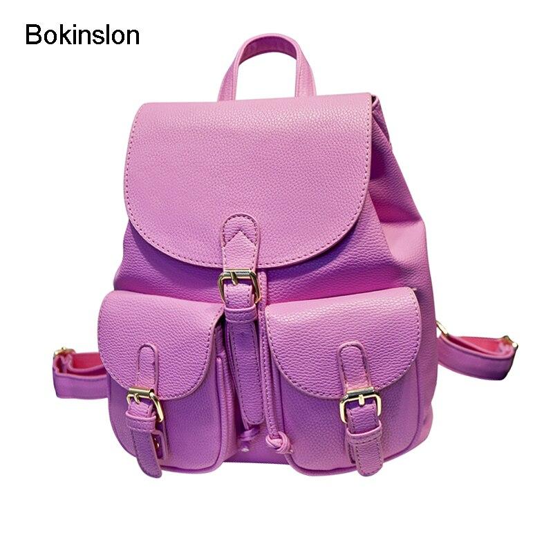 Bokinslon бренд Для женщин Рюкзаки Мода PU кожа девушки рюкзак Школьные ранцы Повседневное универсальные Колледж ветер мешок для девочек