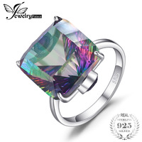 10ct Square Natural Fire Rainbow Mystic Topaz Ring Solid 925 Sterling Silver Jewelry Brand New Hot