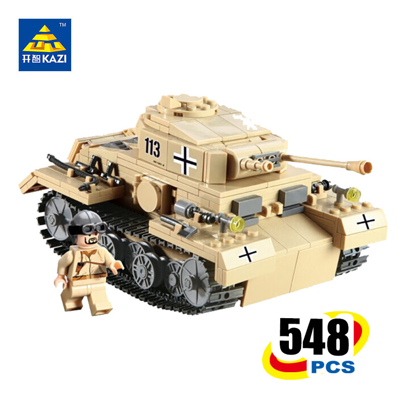 KAZI Military German Tiger NO.3 G PZKPFW-II Tank Building Blocks world warII Educational model toys Brinquedos gifts for boy kazi military building blocks army brick block brinquedos toys for kids tanks helicopter aircraft vehicle tank truck car model