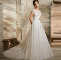 9073 Bridal Real Photo round Neck Lace Up Sweep Train White Ivory Wedding Dress 2016 Appliques Wedding Gowns Size 2-26W