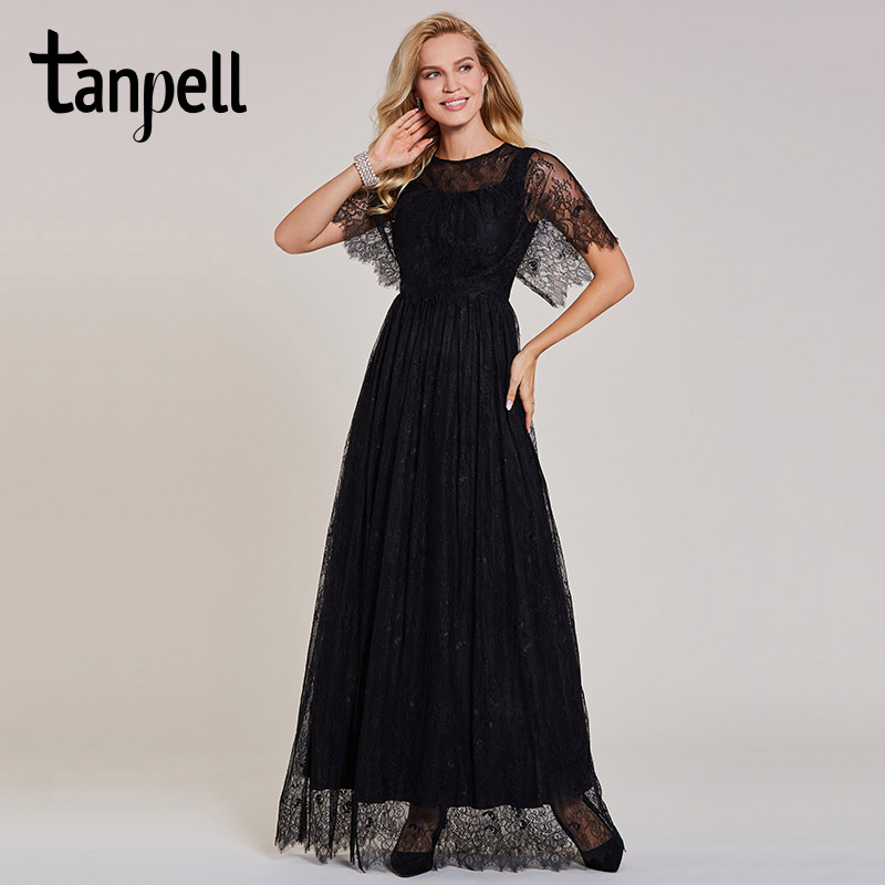Tanpell long lace   evening     dress   cheap black scoop short sleeves floor length a line gown women party prom formal   evening     dresses