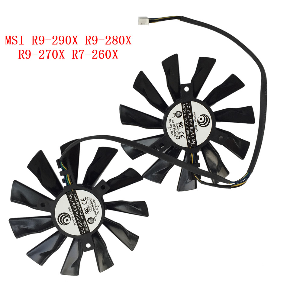купить New Original Cooling Fan For MSI R9-290X R9- 280X R9-270X R7-260X GAMING PLD10010S12HH Laptop Cooler Radiators Cooling Fan по цене 853.37 рублей