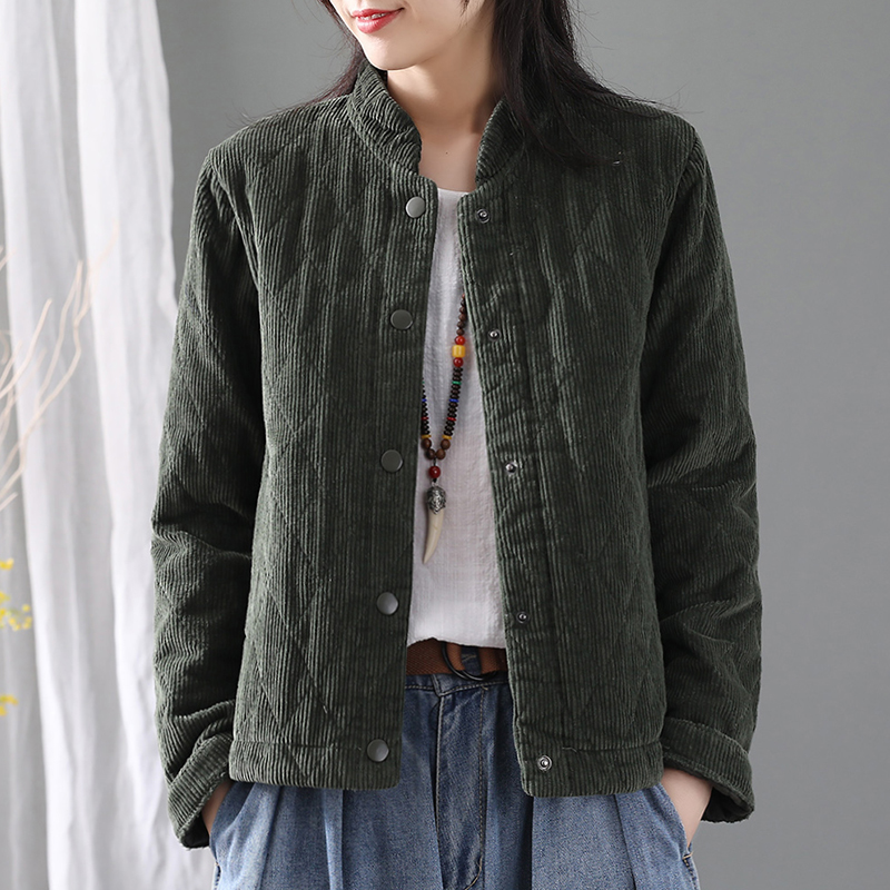 2019 Winter Women Corduory Parkas Single Breasted New Cotton-padded Thick Solid Color Vintage Loose Casual Women Warm Coat