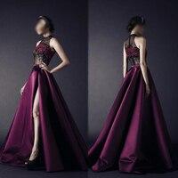 Роскошные Холтер Леди фиолетового атласа вечернее платье сексуальный видеть сквозь Топы Пром платье сторона Разделение линии длиной до по