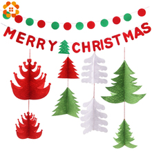 1Set Red Green Non-wovens Flags Garland Bunting  Merry Christmas Letter BannersTree Garlands For Home Party Decoration