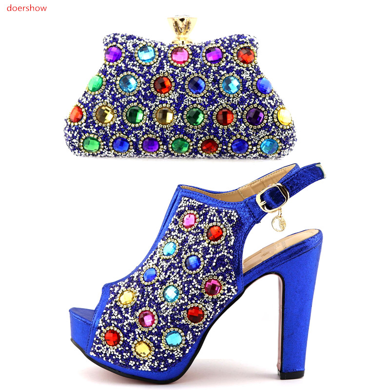 doershow Blue New Arrival Italian Shoes And Bag Set Top Fashion African Woman High Heels Pumps Matching Bag Wholesale HQQ1-18 doershow african shoes and bags fashion italian matching shoes and bag set nigerian high heels for wedding dress puw1 19
