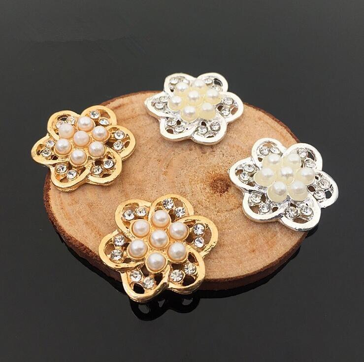 20 штук 21*21 мм золото/серебро, горный хрусталь, жемчуг цветок волос украшения Пуговицы hbc430