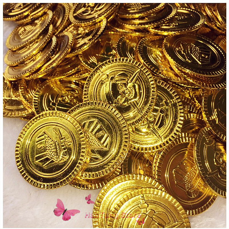 100&50Pcs  Plastic Pirate Gold Coins Treasure Toys Coins Captain Pirate Halloween Christmas Decoration Game Currency 7Z-HH204100&50Pcs  Plastic Pirate Gold Coins Treasure Toys Coins Captain Pirate Halloween Christmas Decoration Game Currency 7Z-HH204