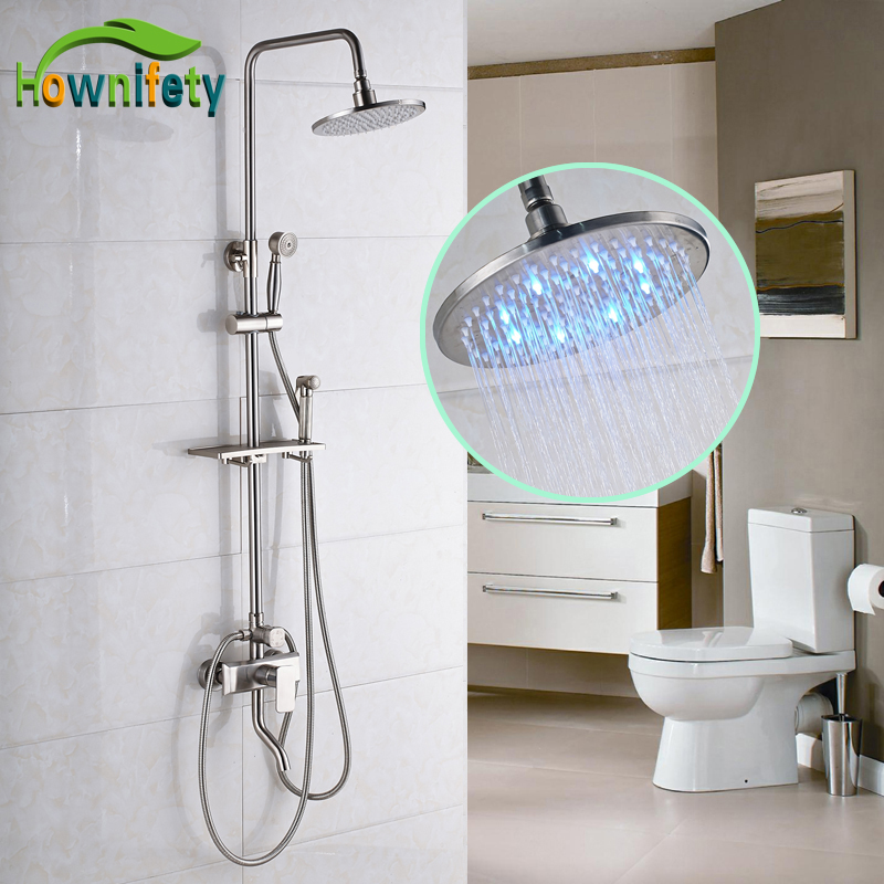 Nickel Brushed 8 Inch LED Rainfall Shower Head Shower Faucet Single Handle Swivel Spout Bathtub Mixer Tap with Hand Shower