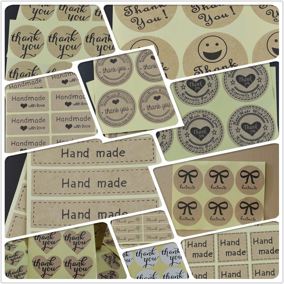 Hand Made With LOVE Scrapbooking Kraft Paper Labels Envelopes Stickers And Gift Packaging Seal Seals Sticker 1 Lot =100 Pcs