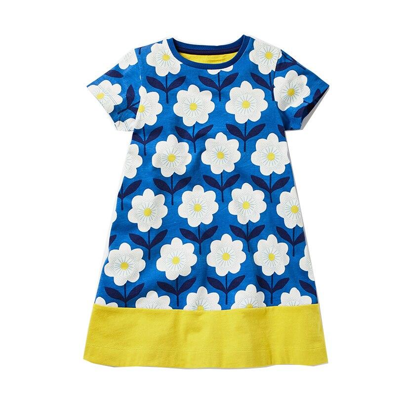Летнее платье для маленьких девочек 2018 фирменное платье принцессы одежда для детей Платья с цветочным принтом костюм для девочек из 100% хлоп...