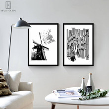 Black & White Windmill Bird Life Abstract Portrait Of Nordic Style Printing Modern Posters Decorative Paintings Personalize